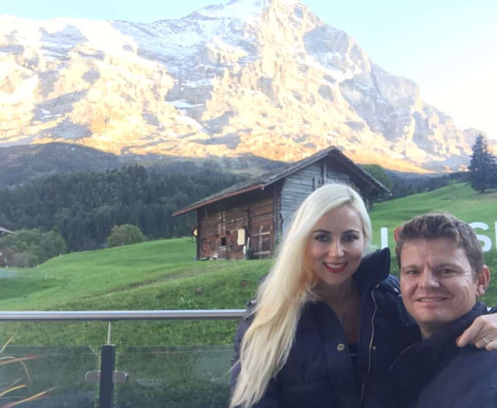 My wife and I relaxing in Switzerland.